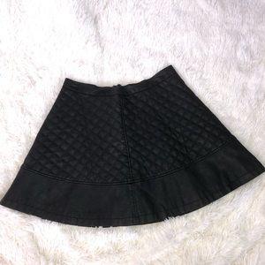 Black Vegan leather Moto mini skirt SZ L